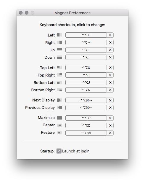 Magnet OSX App Settings